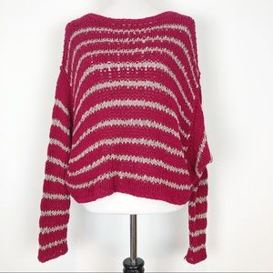 FREE PEOPLE OVER AND EASY STRIPE SWEATER SZ M